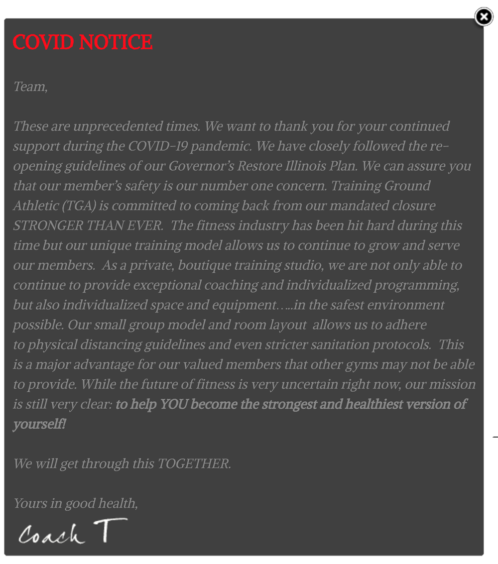 COVID website notification