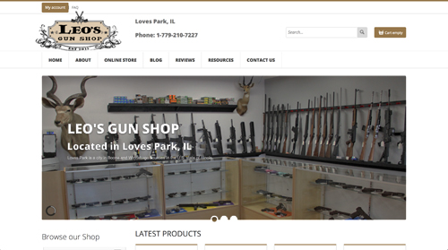 Website Sample Ecommerce Gun Shop