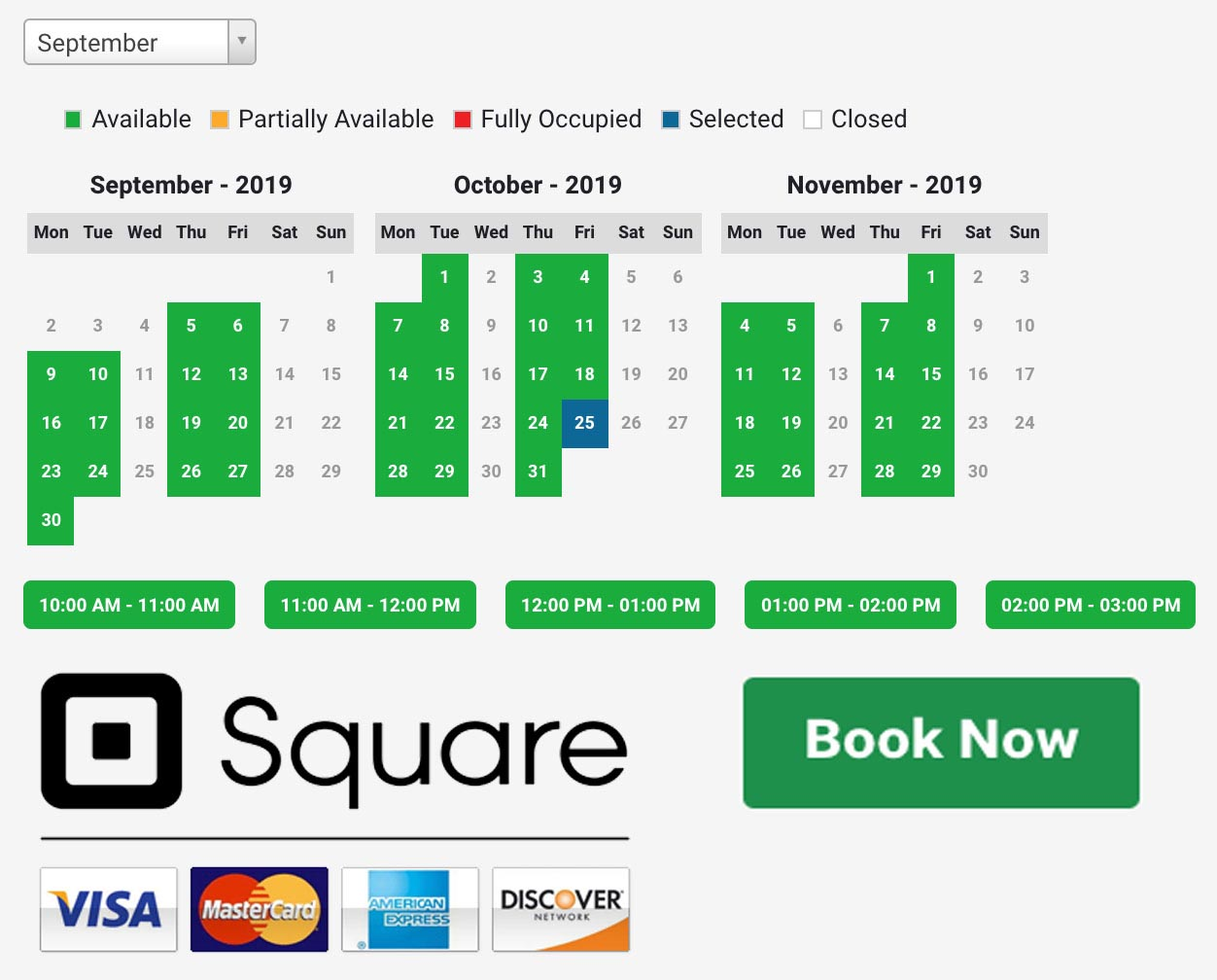 ecommerce PAYMENT by SQUARE ONLINE APPOINTMENT BOOKING
